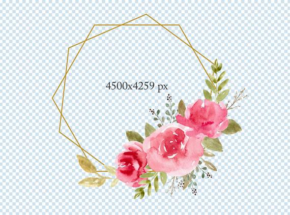 Watercolor Png Frame Geometric Minimalist Golden Floral Wreath Wedding DIY  Clipart Pink Flowers Rose Frame Free Commercial Nursery Clip Art.