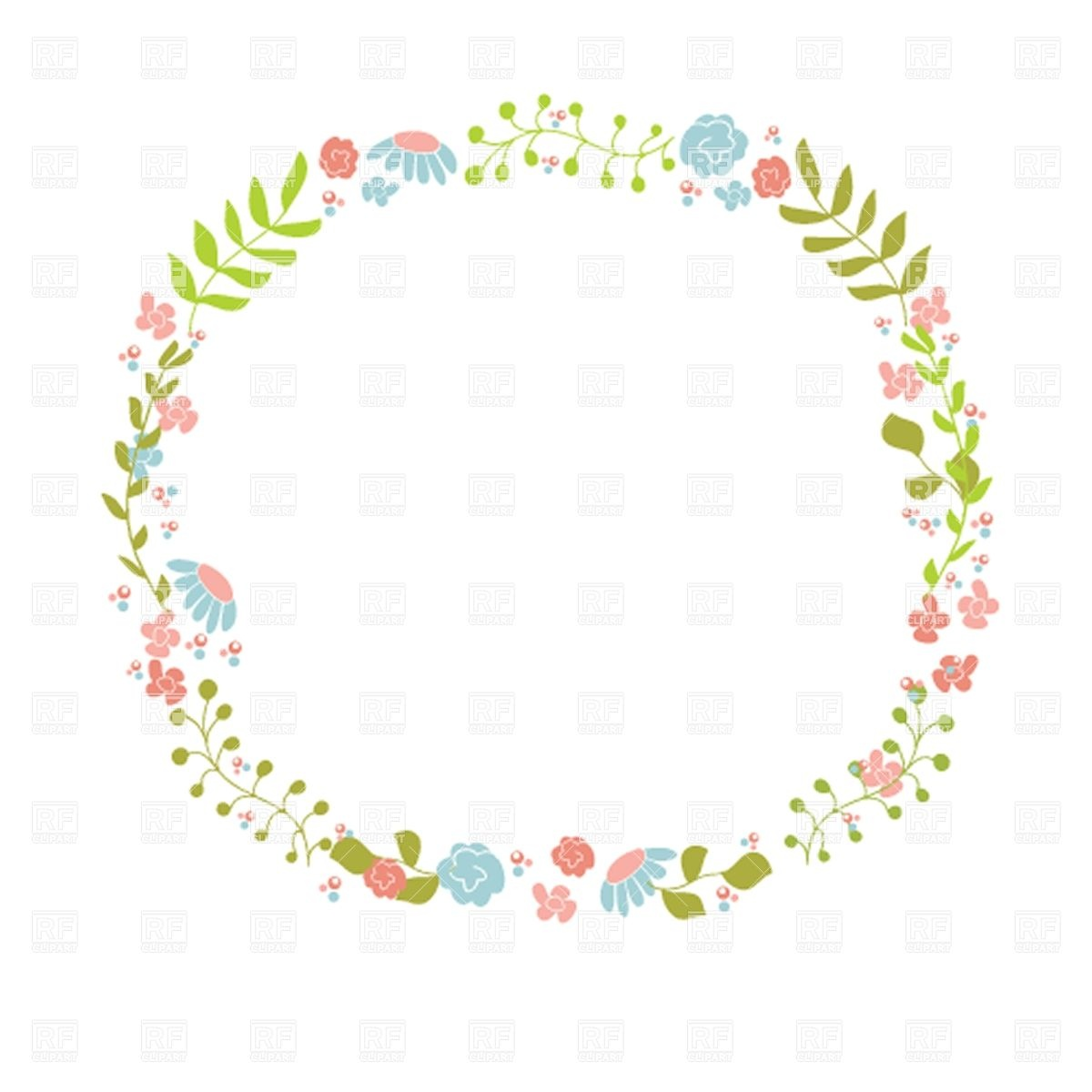 Cute floral wreath Stock Vector Image.