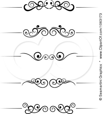Clipart Black And White Flourish Borders Digital Collage 6.