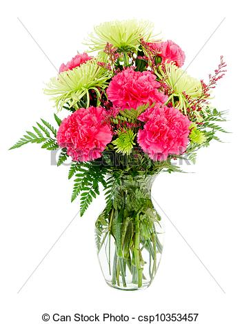 Stock Images of Colorful pink and green flower arrangement with.