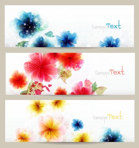 Beautiful flowers banner vector.
