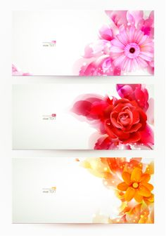 Pink Vector Flower Banners Templates.