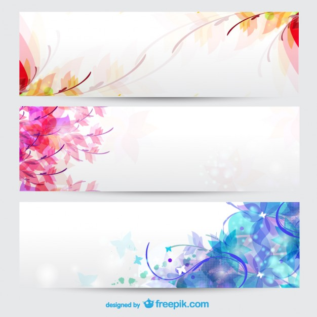 Floral seasons background banners Vector.