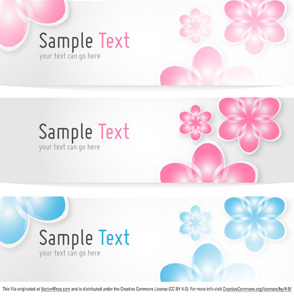 Free Floral Banners Vector Template.