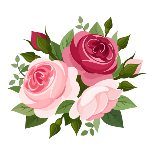 Elegant flowers bouquet vector 03.
