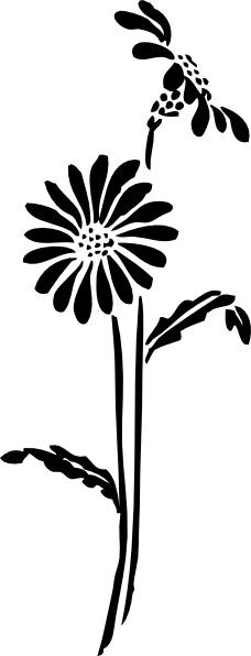 Flowers Silhouette clip art Free vector in Open office.