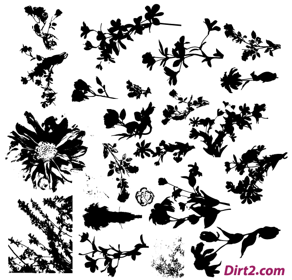 Floral Silhouette Vector Pack Free.