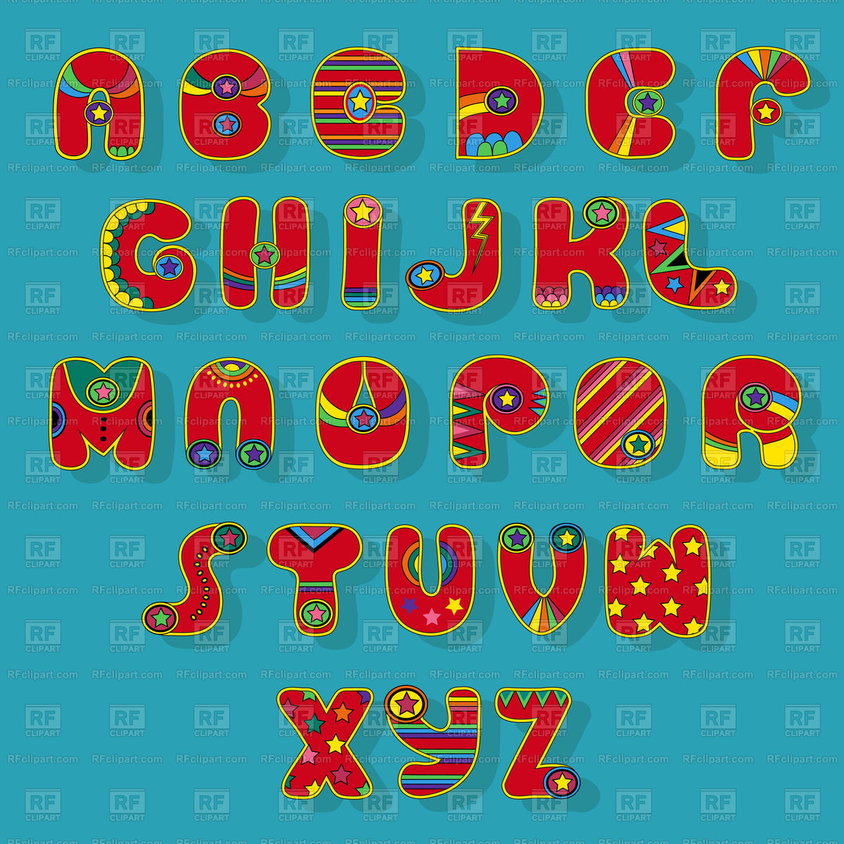 Superhero font alphabet on blue background Free Vector Image.