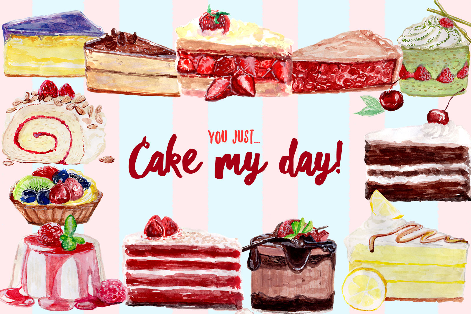 Free Watercolor Cake Cliparts.