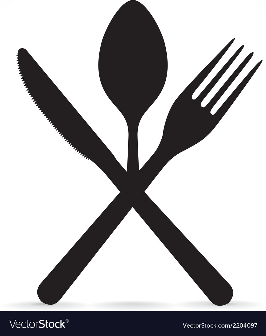 Crossed fork knife and spoon.