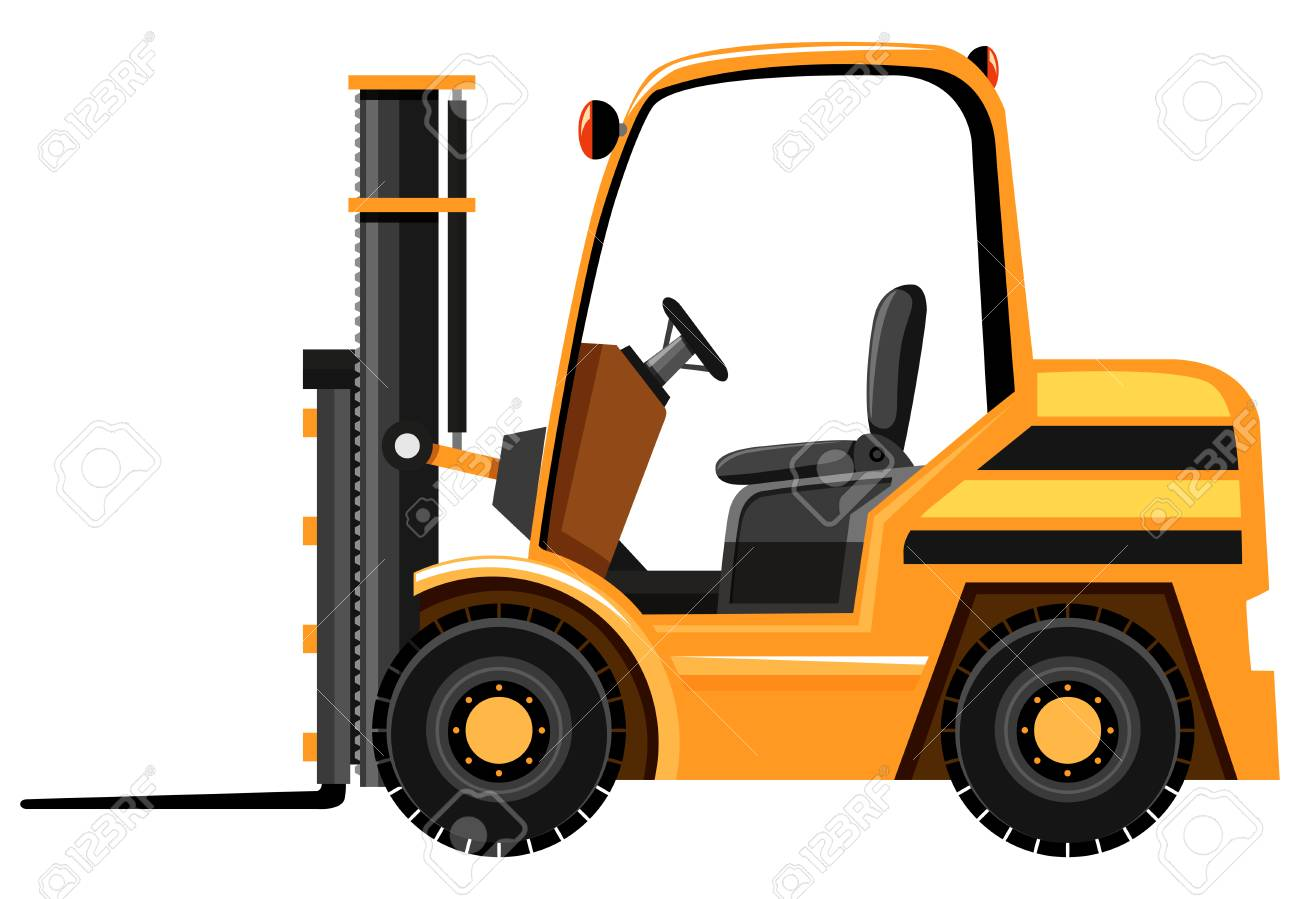 Forklift in yellow color illustration.