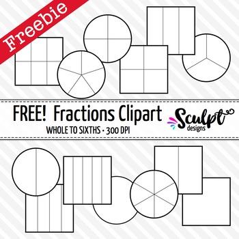 Fractions Clip Art ~ FREE! Black & White Outlines by Sculpt.