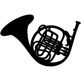 FREE SVG French Horn Silhouette.