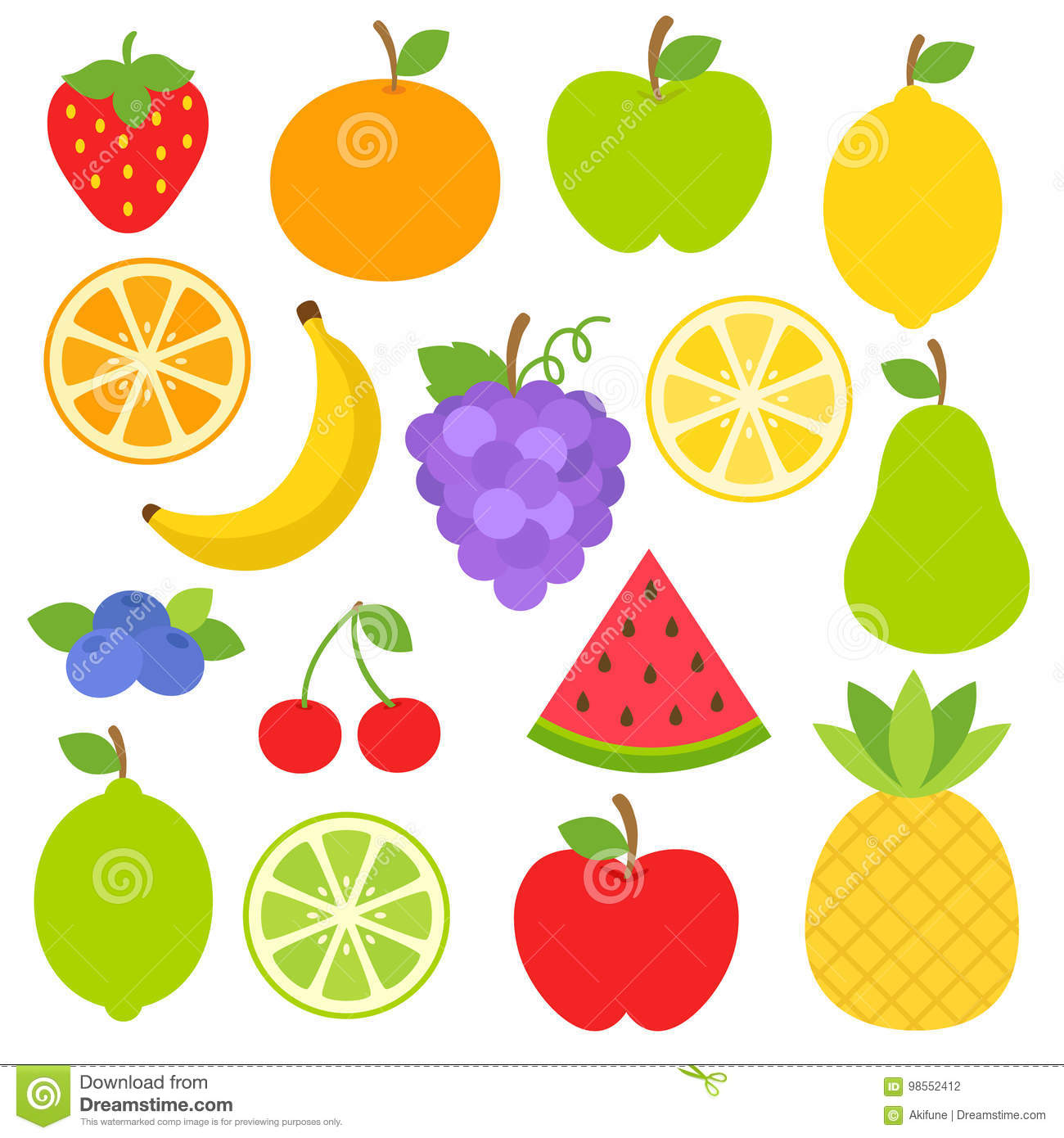 Fruits Clipart stock vector. Illustration of healthy.