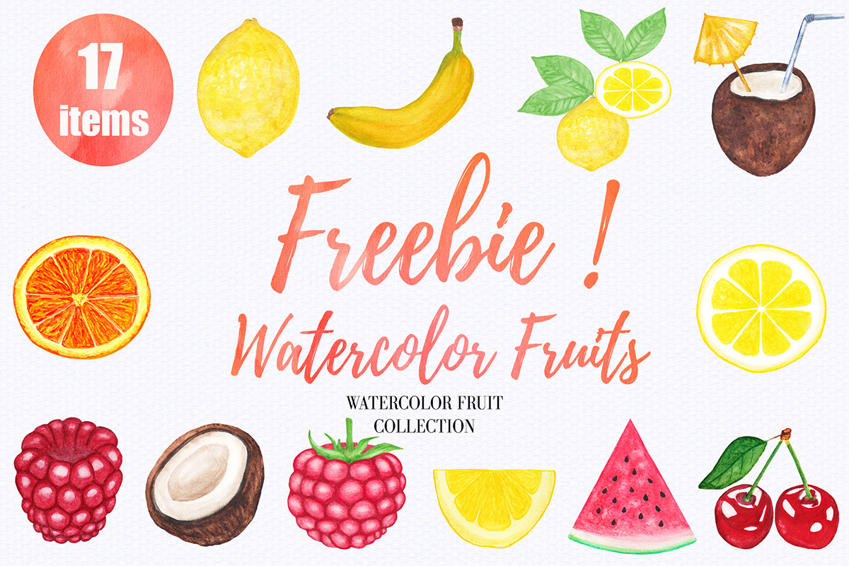 Free Watercolor Fruit Clipart Collection.