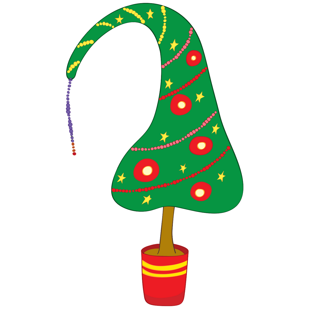 Funny Christmas Tree in a Pot clipart. Free download.
