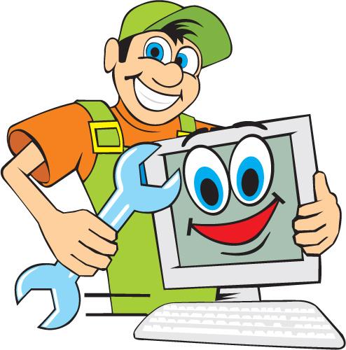 Funny computer repair service elements vector Free vector in.