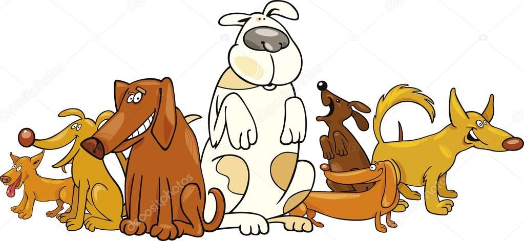 whimsical dog group clipart.