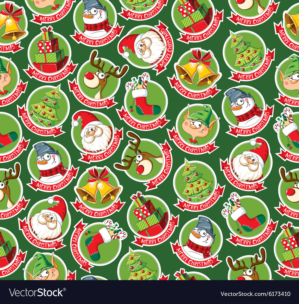Seamless pattern with funny Christmas cartoon.