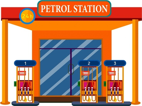 Vector gas station background free vector download (44,055.