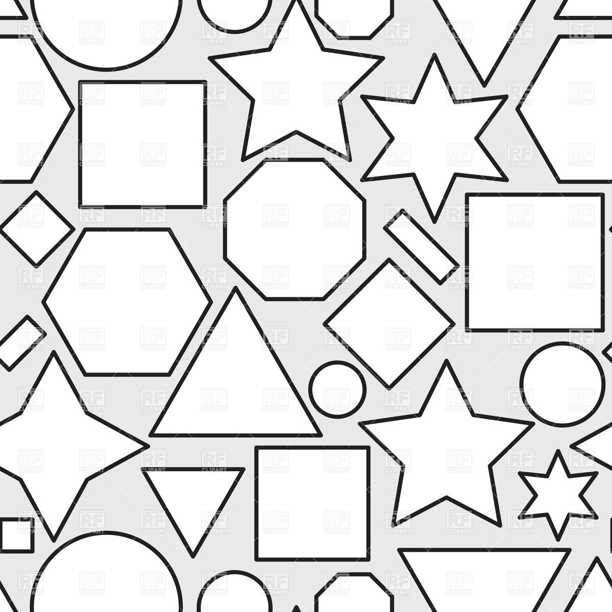 Abstract black and white seamless pattern with geometric shapes Stock  Vector Image.