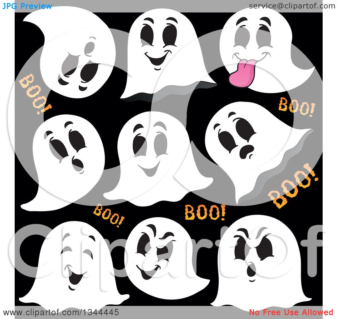 Clipart of Halloween Ghosts and Boo Text on Black.