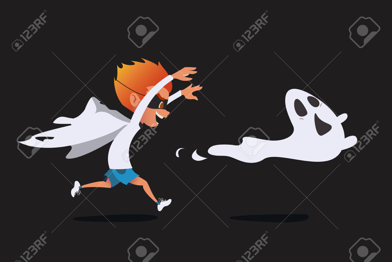 Cute Kid In A Ghost Costume Pursuing A Real Ghost. Prank Halloween.