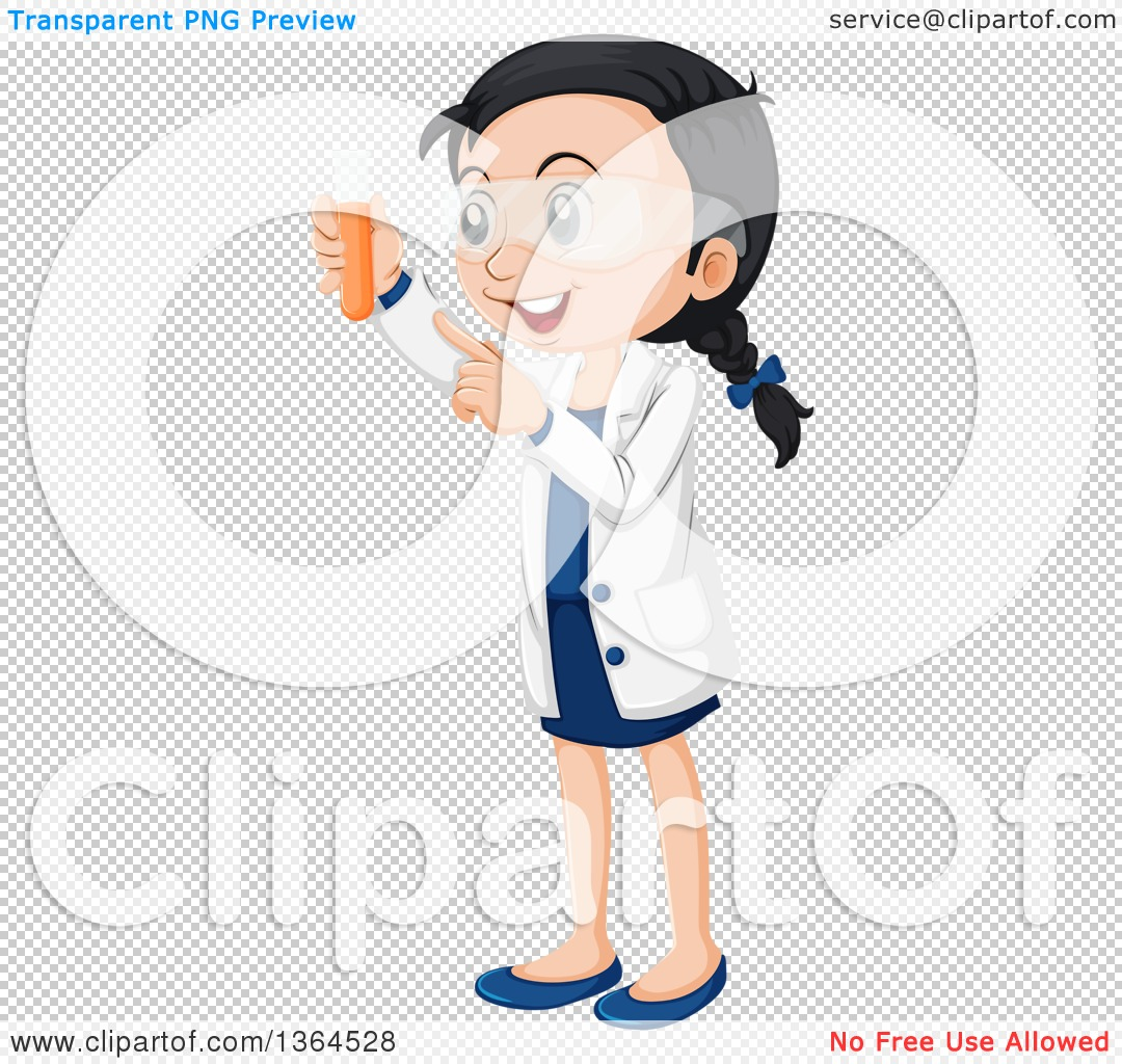 Clipart of a Happy Asian Girl Scientist Holding up a Test Tube.