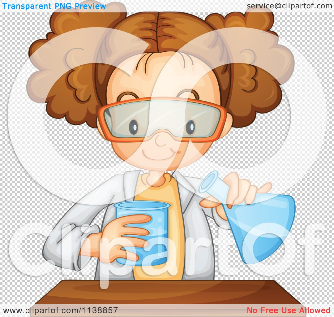Cartoon Of A Science Girl Mixing Chemicals.