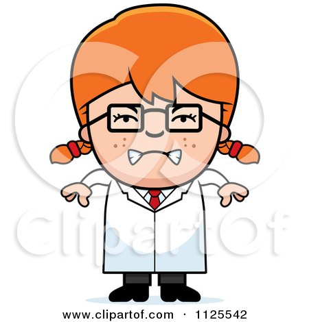 Cartoon Of An Angry Red Haired Scientist Girl.