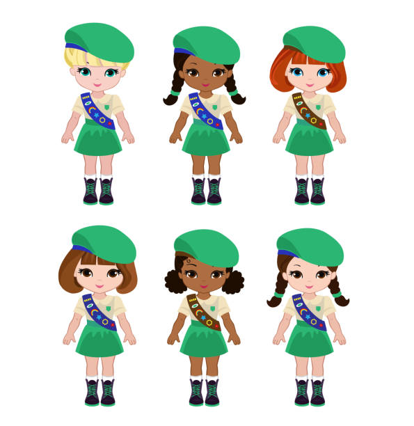 Brownie Girl Scout Illustrations, Royalty.
