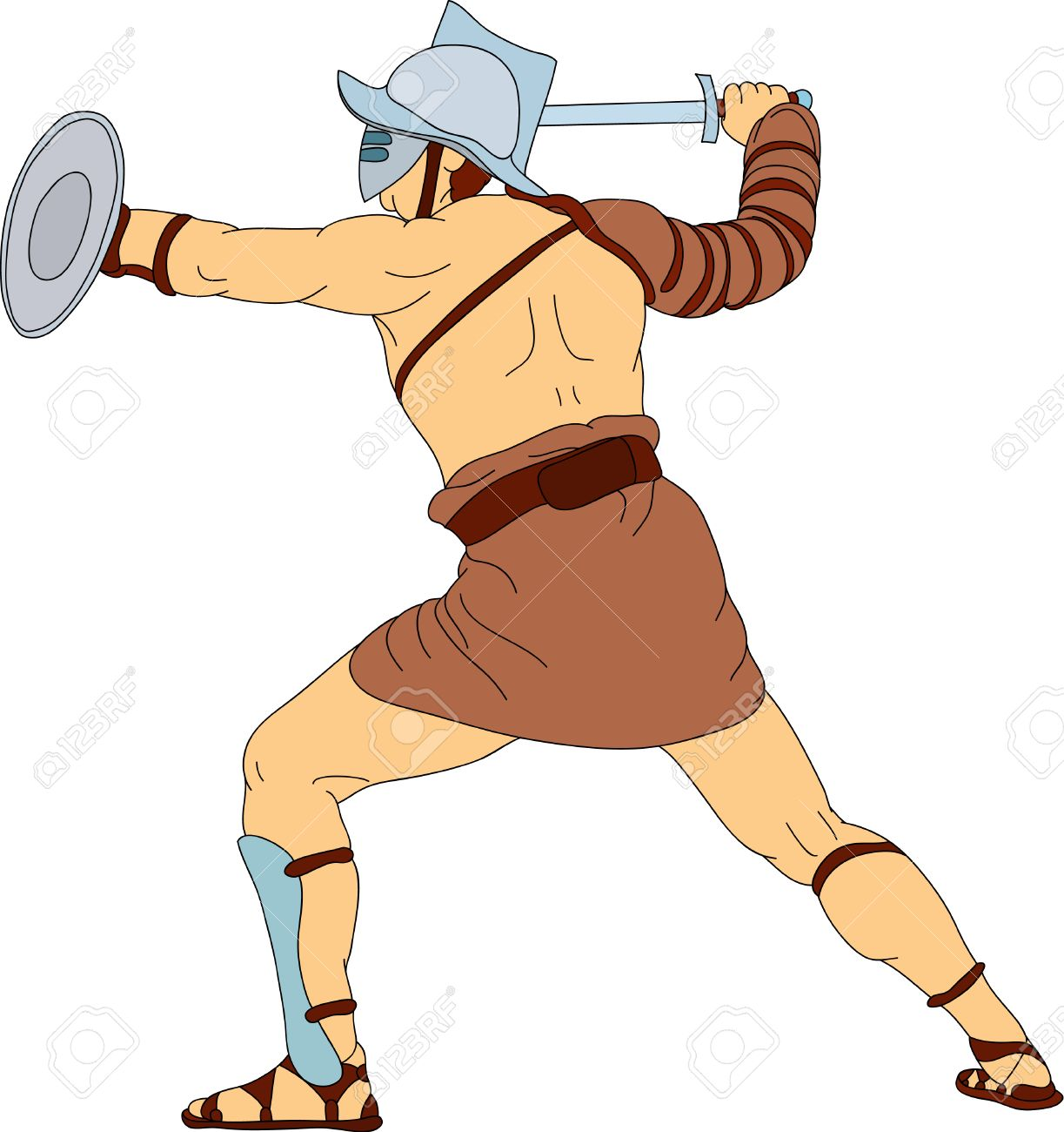a Roman gladiator fighting.