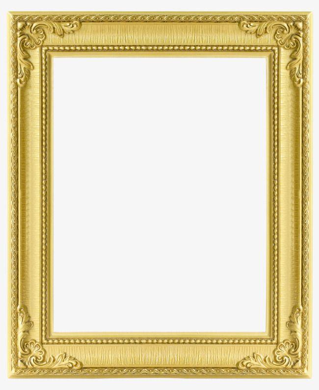 Rectangular Gold Frame, Frame Clipart, Frame, Golden PNG.