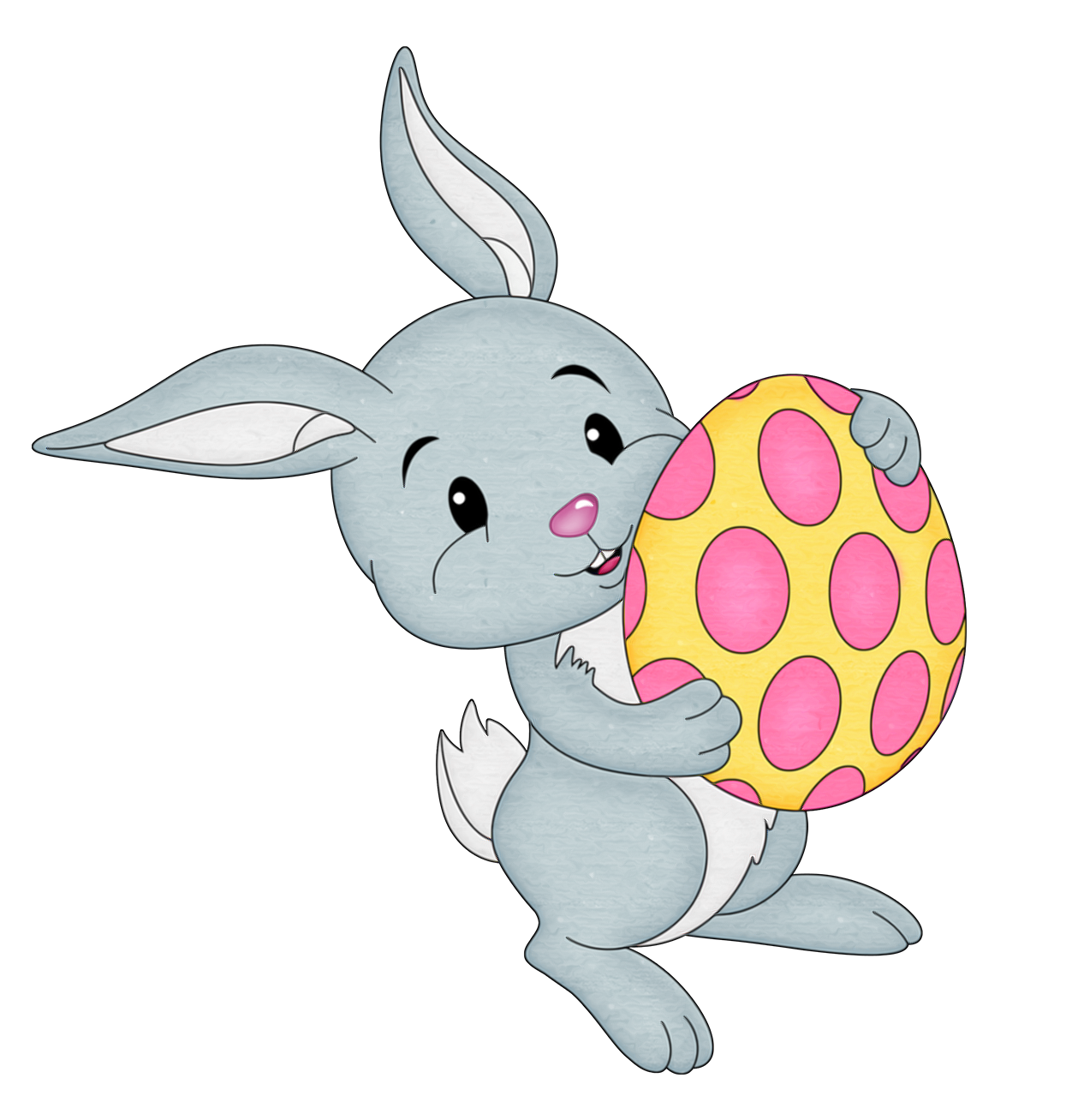 Easter Bunny with Yellow Egg Transparent PNG Clipart.