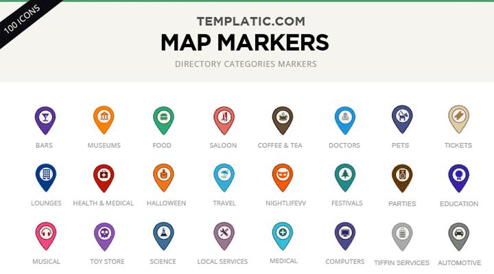 100 Free PSD Custom Google Map Markers / Icons.