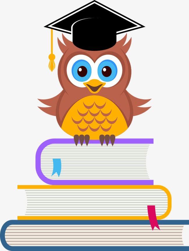 Vector Owl On The Books, Owl Clipart, Owl, Cartoon Owl PNG.
