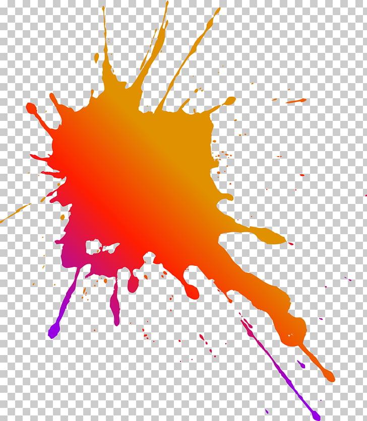 Graphic design Free content , Paint splash, orange and red.
