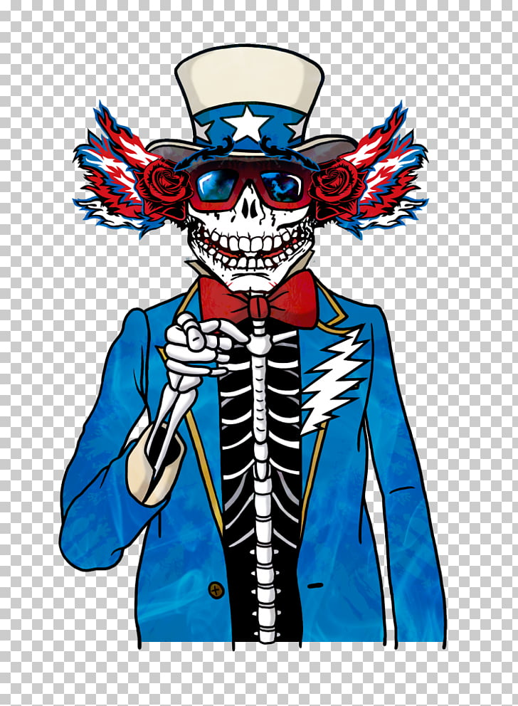 Uncle Sam Skeleton Grateful Dead Costume, Uncle Sam hat PNG.
