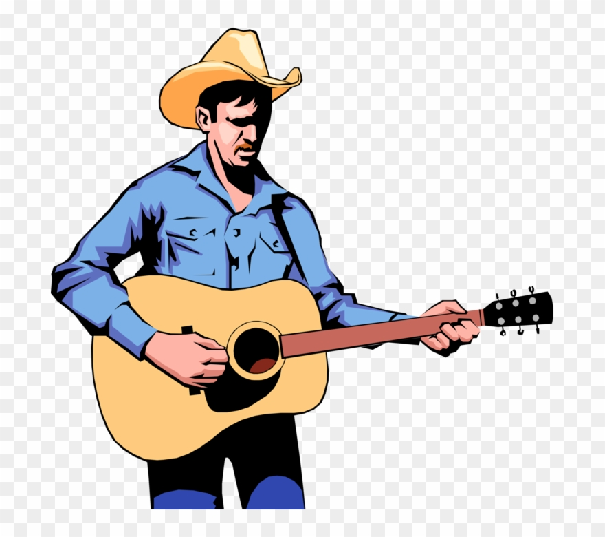 Cowboy Guitar Player Royalty Free Vector Clip Art Illustration.
