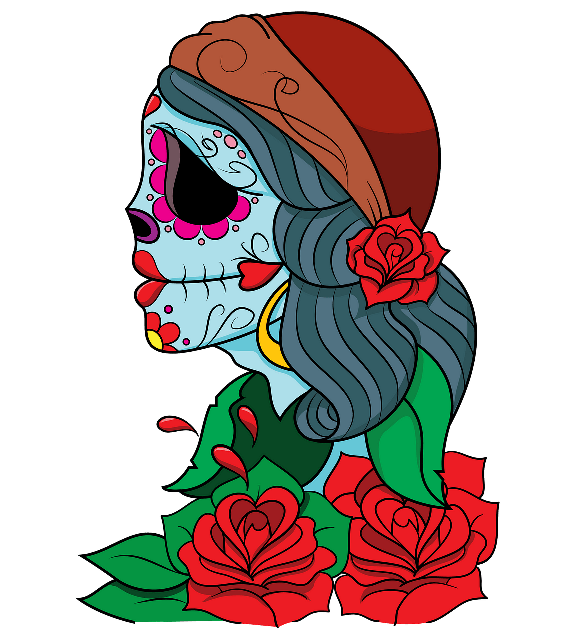 Day of the Dead Gypsy clipart. Free download..
