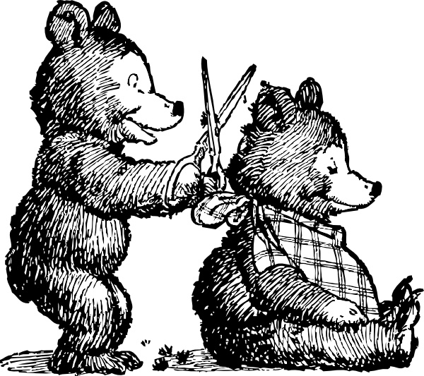 Bear Gets Haircut clip art Free vector in Open office.