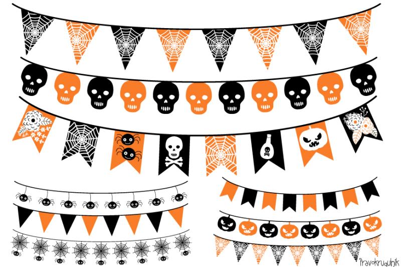 Free Halloween banner, Halloween bunting , Garland clipart.