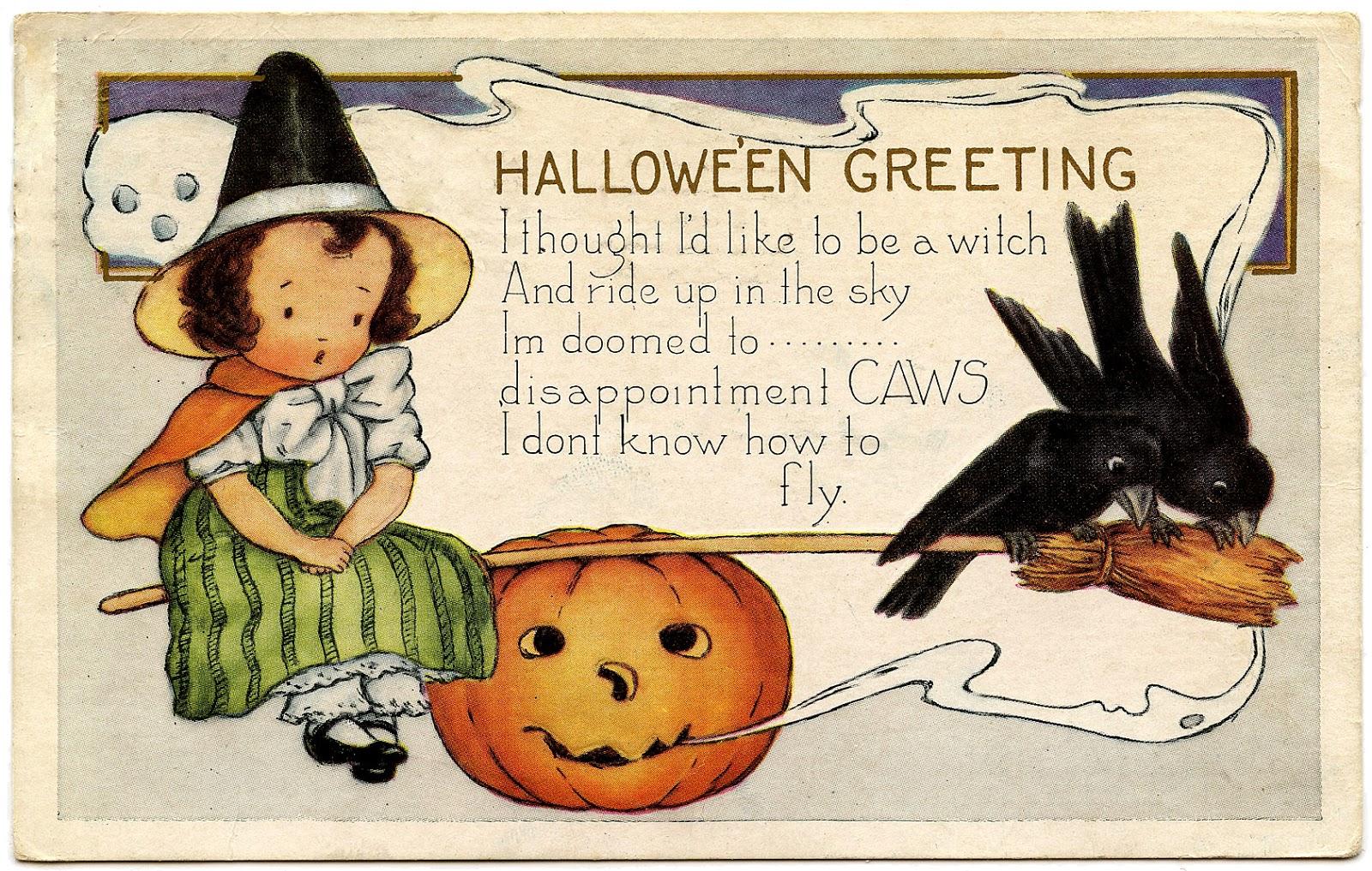 Vintage Happy Halloween Clipart.