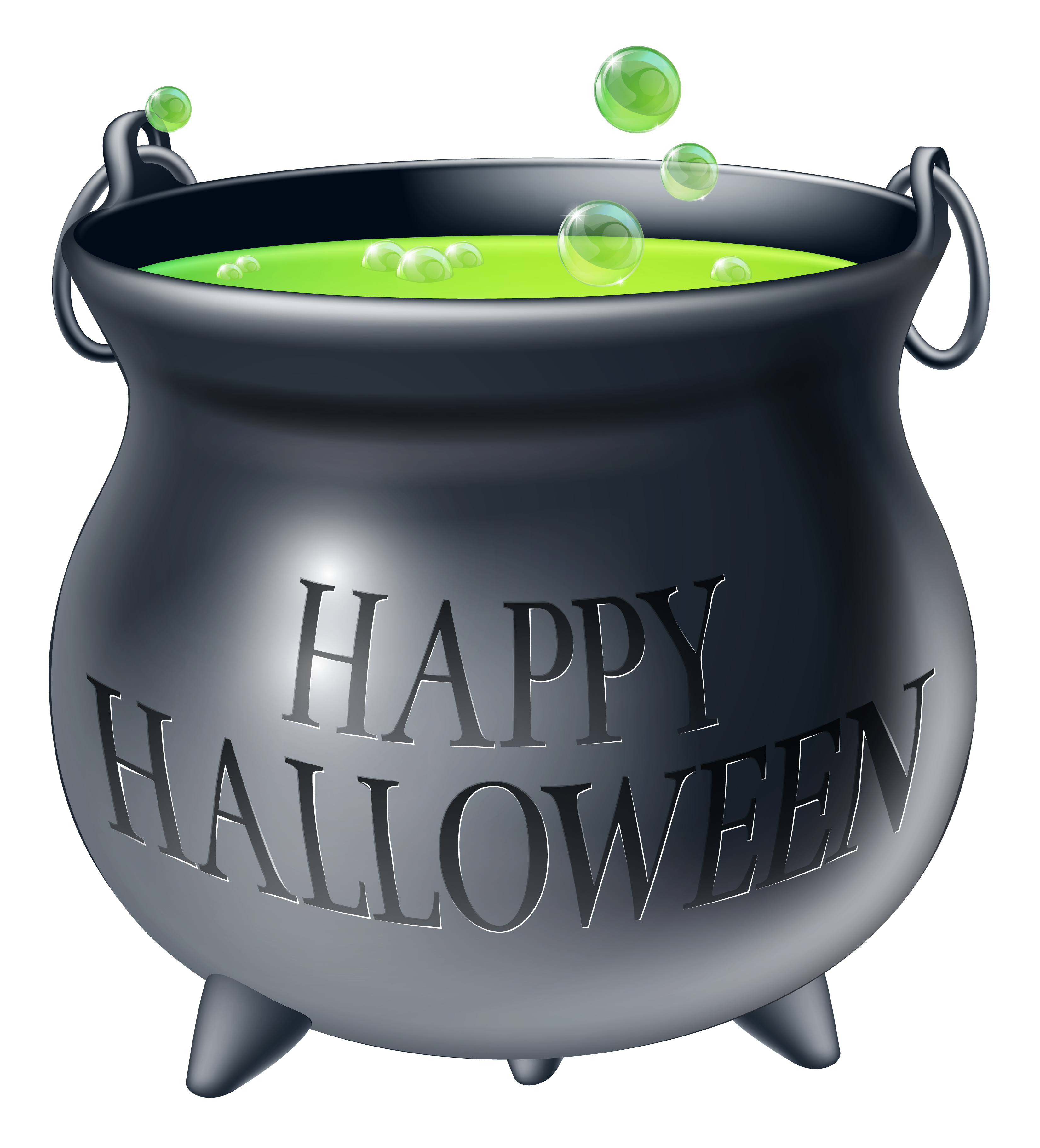 Happy Halloween Witch Cauldron PNG Clipart Picture.