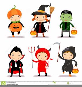 Kids In Halloween Costumes Clipart.