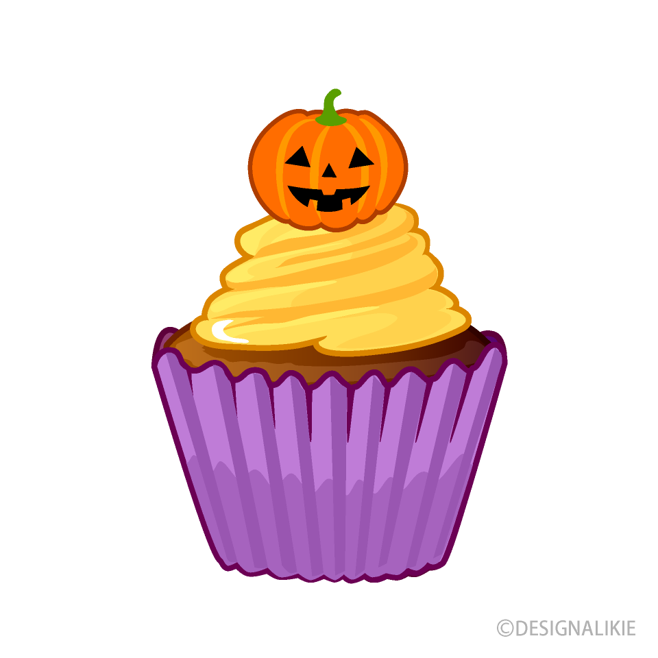 Free Cute Halloween Cupcake Clipart Image|Illustoon.