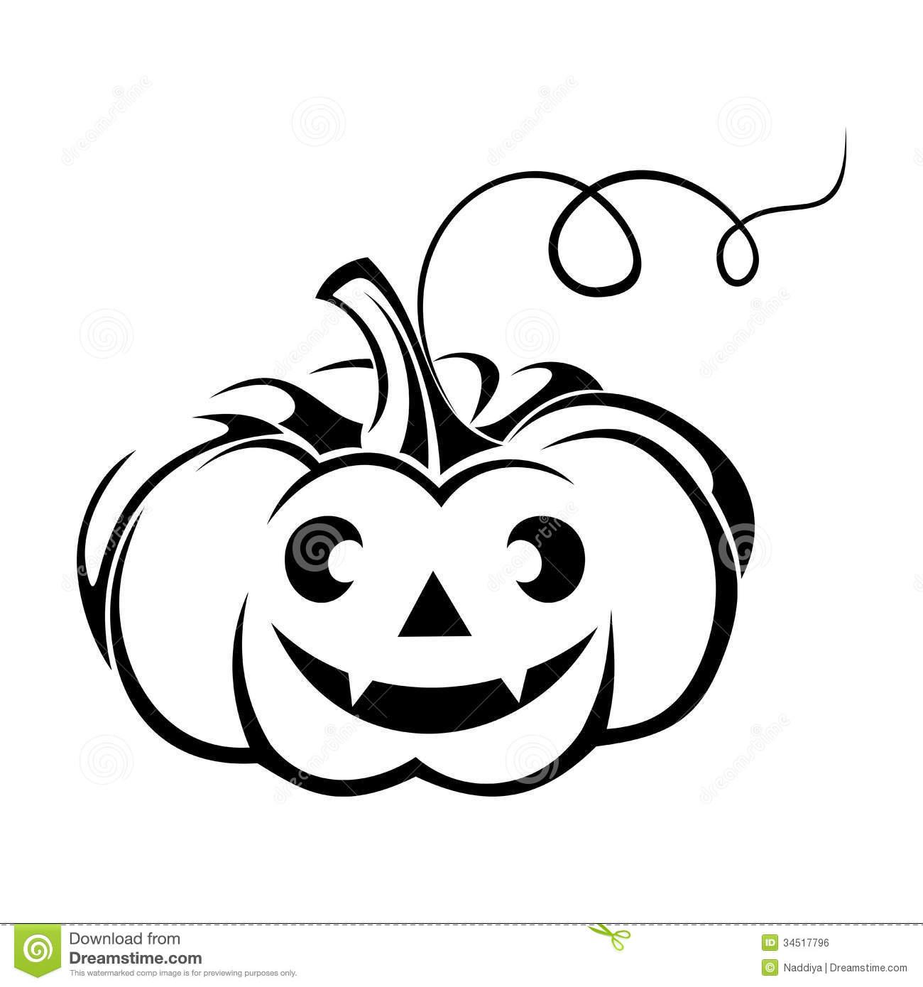 Halloween Jack O'Lantern Pumpkin Silhouette. Stock Image.