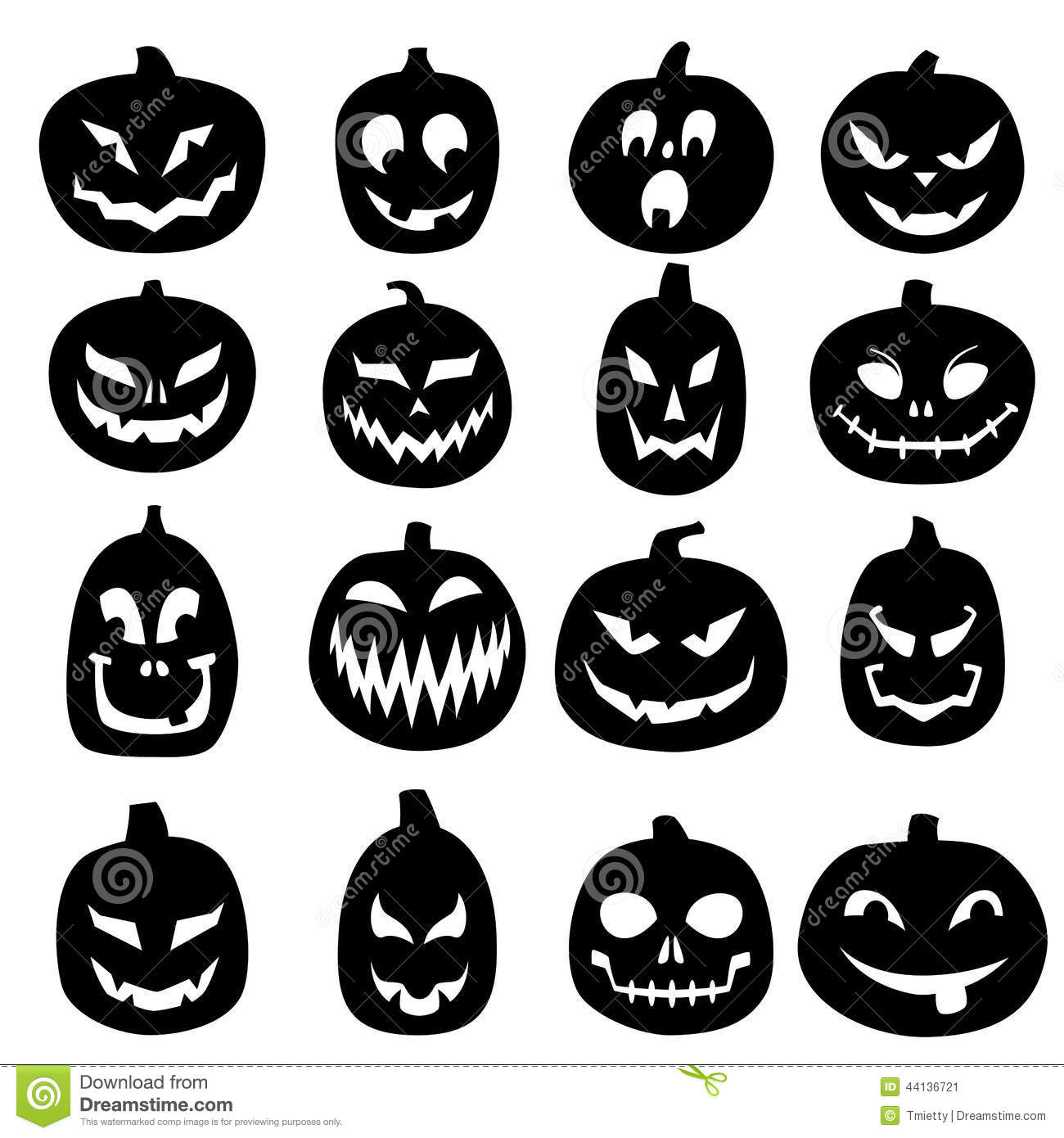 Jack O Lantern Carved Pumpkin Icons Stock Vector.