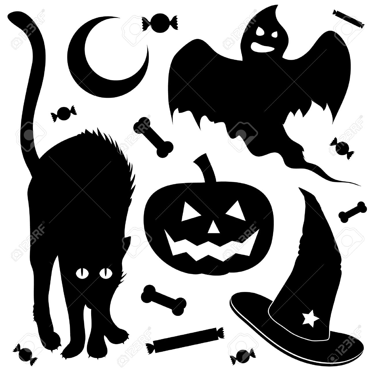 Halloween Design Elements Silhouette Set. Includes Black Cat.
