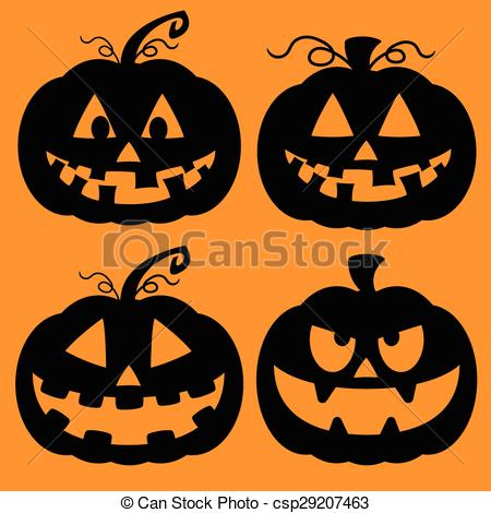 Clip Art Vector of Set of Jack O Lantern Silhouettes.